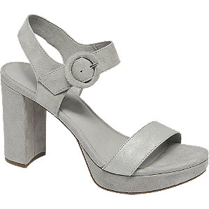 Šedé kožené sandály na podpatku 5th Avenue