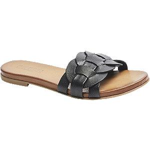 Černé kožené pantofle 5th Avenue