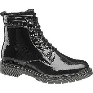 Černá lakovaná šněrovací obuv Tom Tailor se zipem