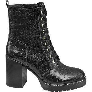 Černá šněrovací obuv se zipem Catwalk se zvířecím vzorem