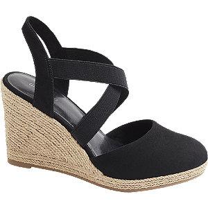 Černé sandály na klínku Graceland