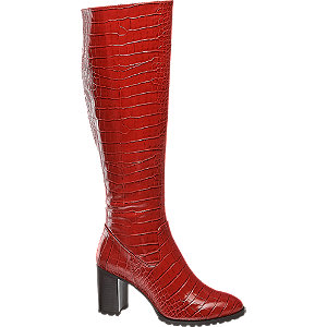 Červené čižmy so zvieracím vzorom Catwalk