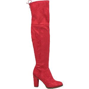 Červené ponožkové kozačky nad kolena Graceland