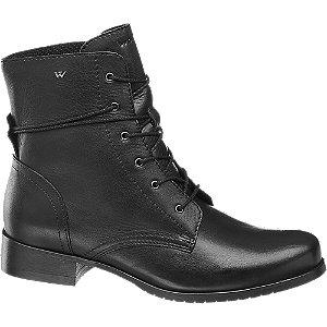 Čierna kožená šnurovacia obuv Wojas