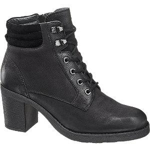 Čierna kožená šnurovacia obuv so zipsom 5th Avenue