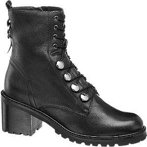 Čierna kožená šnurovacia obuv 5th Avenue so zipsom