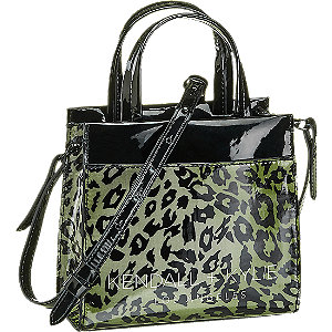 Čierna lakovaná kabelka so zvieracím vzorom Kendall + Kylie