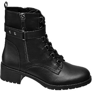 Čierna šnurovacia obuv so zipsom Graceland