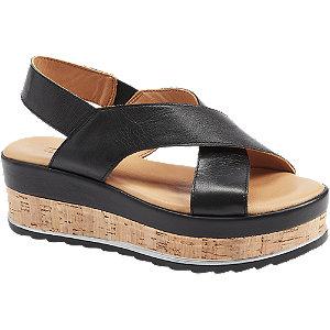 Čierne kožené sandále na platforme 5th Avenue