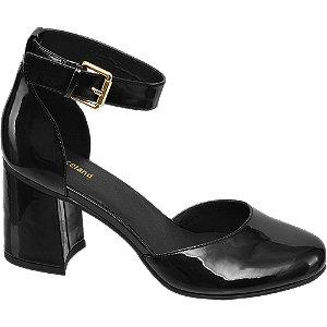 Čierne lakované sandále na podpätku Graceland