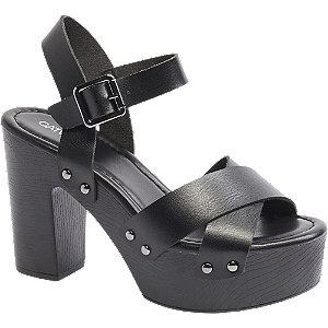Čierne sandále na podpätku Catwalk