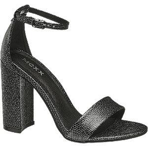 Čierno-strieborné sandále na podpätku Mexx