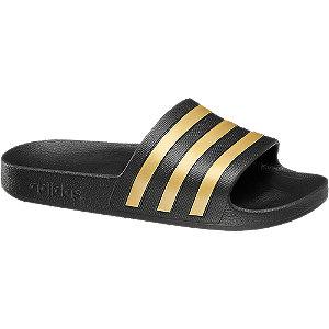 Čierno-zlaté plážové šľapky Adidas Adilette Aqua