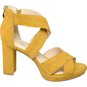 Žlté kožené sandále na podpätku 5th Avenue
