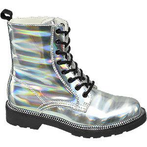 srebrne botki damskie Catwalk na czarnej podeszwie