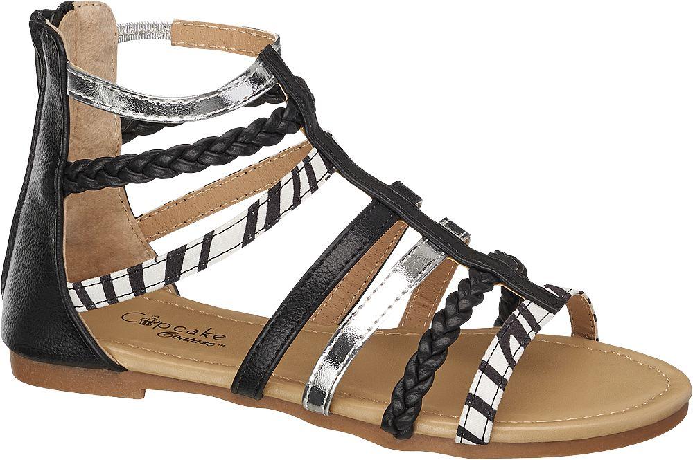 Cupcake Couture Siyah Beyaz Gümüş Sandalet