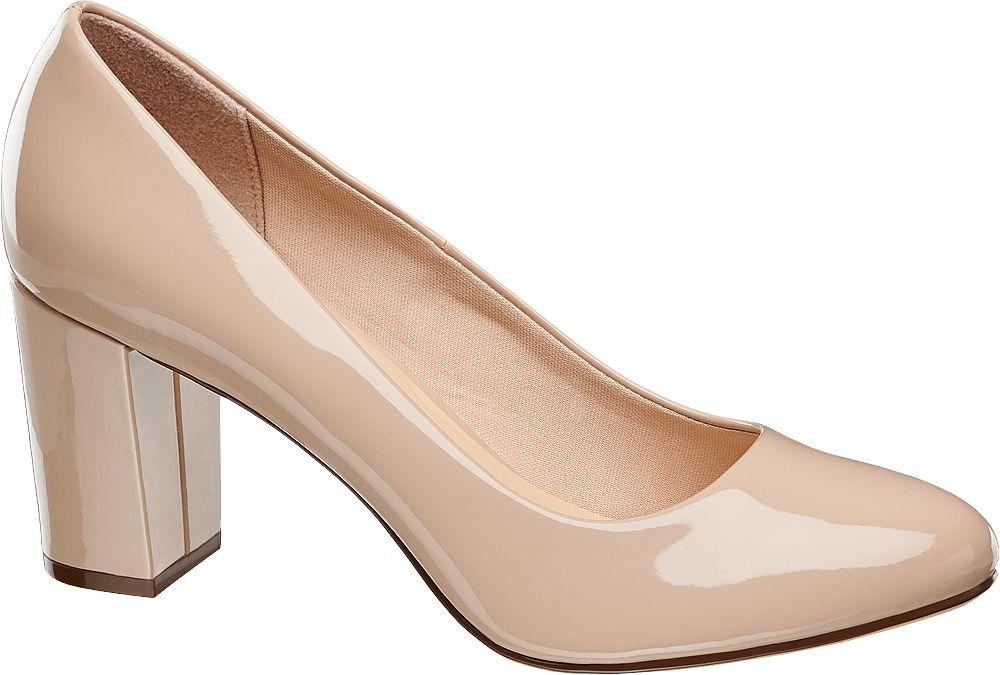 Bej Kalın Topuklu Ayakkabı Graceland