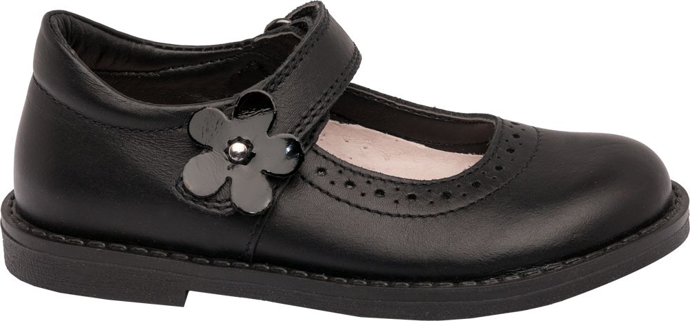 Toddler Girl Flower Detail Leather Bar Shoes
