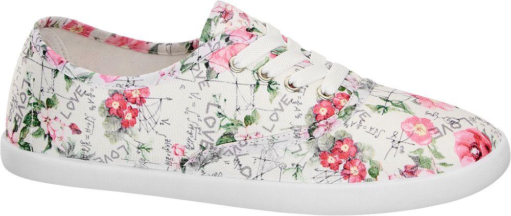 Vty Beyaz Çok Renkli Keten Sneaker