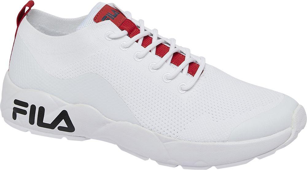 białe sneakersy męskie Fila z czerwonymi akcentami