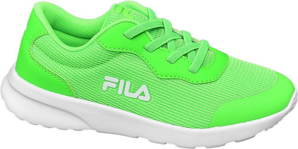 zielone sneakersy dziecięce Fila na białej podeszwie
