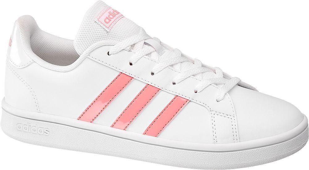 białe sneakersy damskie adidas Grand Court z różowymi paskami