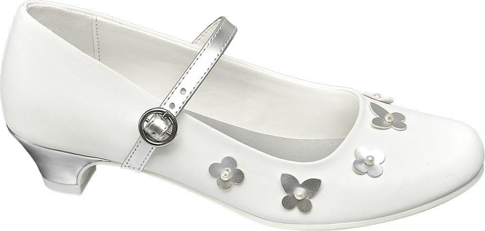 białe buty komunijne ze srebrnymi elementami