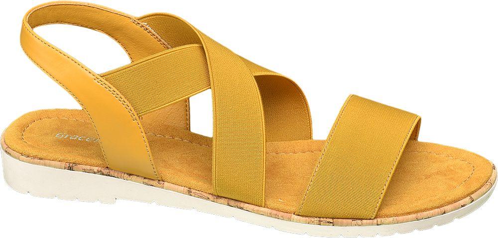 żółte sandały damskie Graceland z elastycznymi paskami