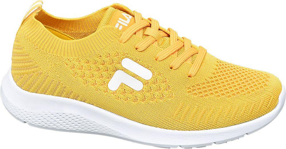 żółte sneakersy damskie Fila na białej podeszwie