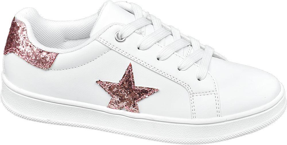 białe sneakersy dziewczęce z błyszczącą gwiazdą