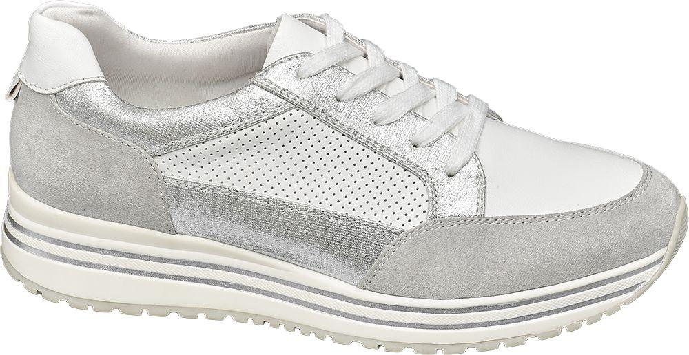 srebrno-białe sneakersy damskie Graceland na grubej podeszwie