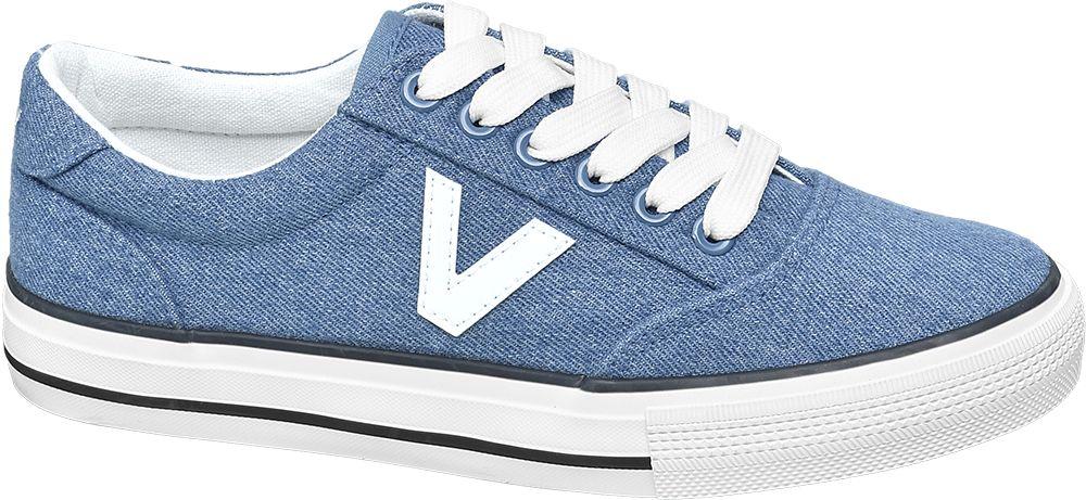 niebieskie tenisówki damskie Vty z białymi akcentami