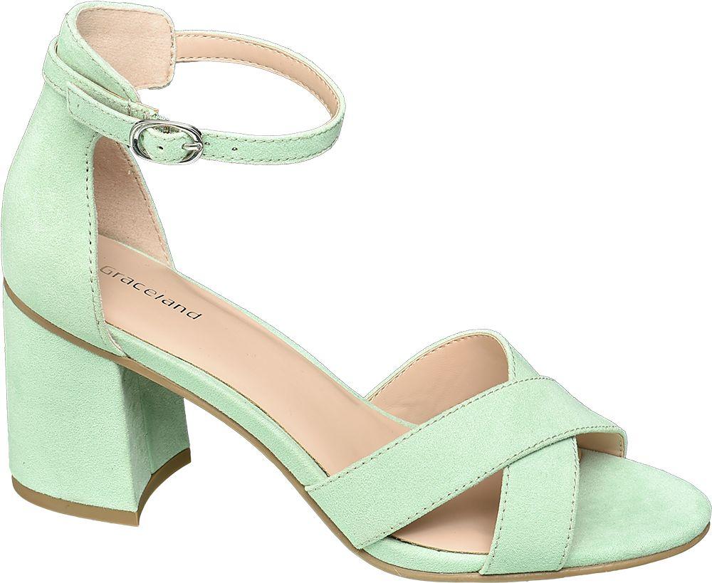 zielone sandały damskie Graceland na obcasie