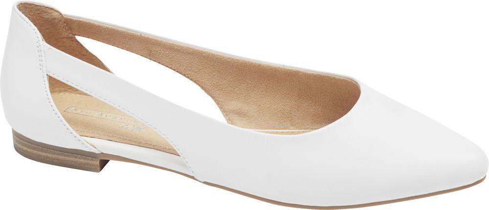 białe skórzane baleriny damskie 5th Avenue z wycięciami