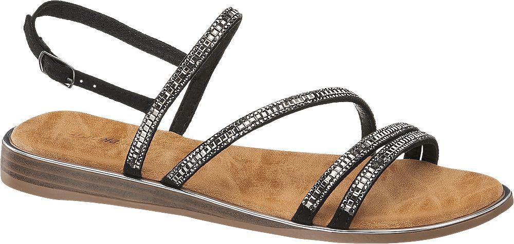 czarne sandały damskie Graceland zapinane na paseczek