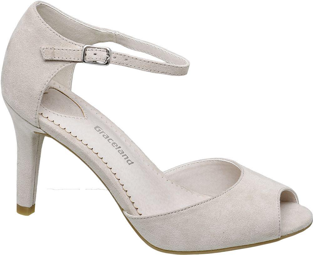 Sandały peep toe Graceland beżowe