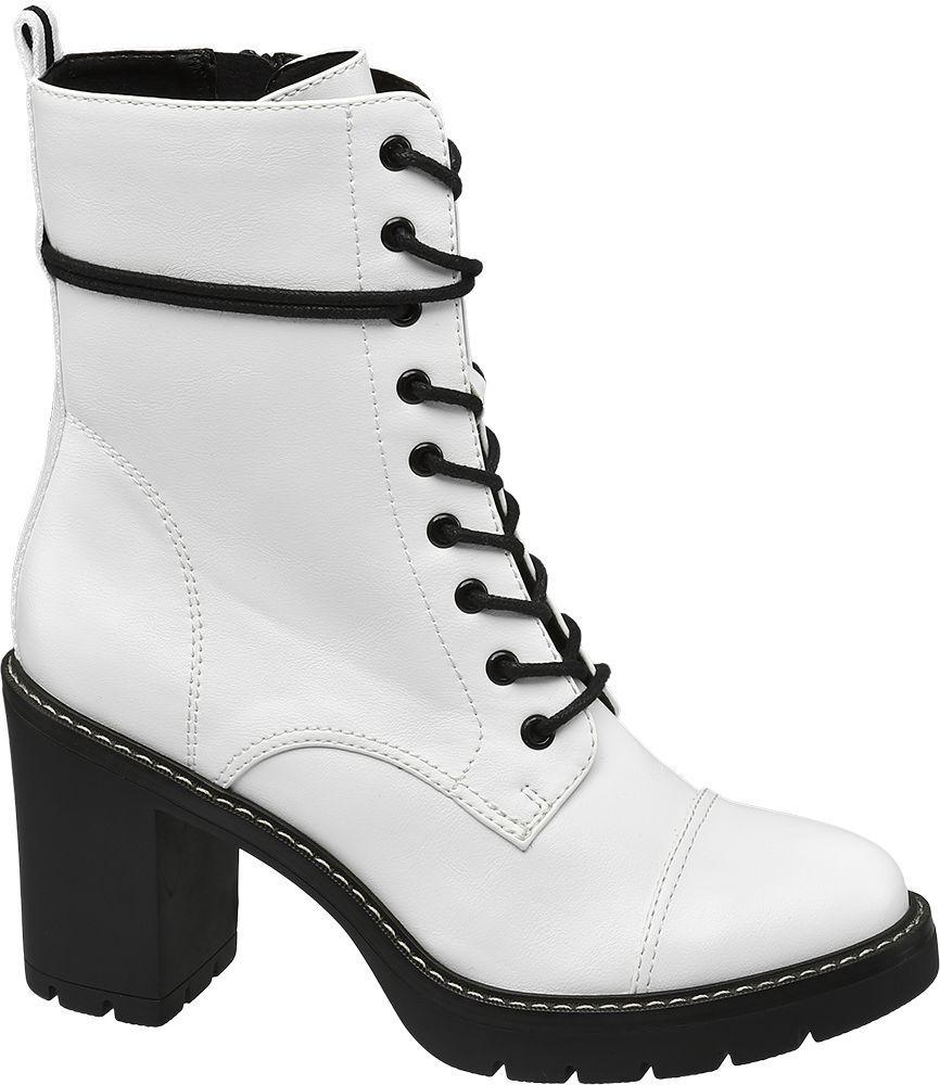 białe botki damskie Catwalk na czarnym obcasie