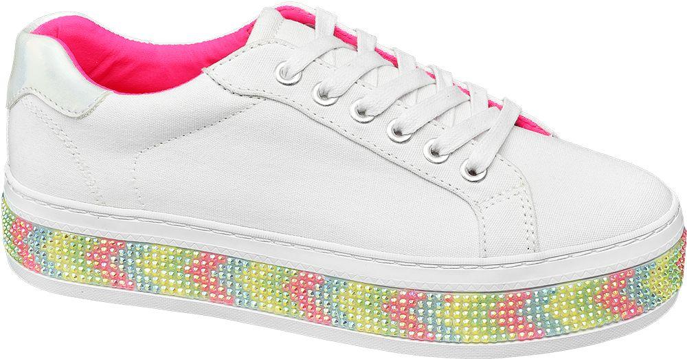 białe sneakersy damskie Graceland na kolorowej podeszwie