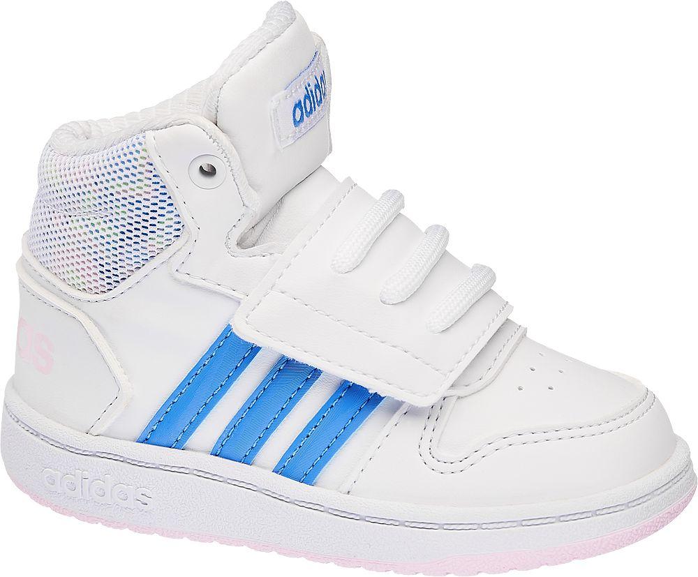 Deichmann - adidas Bílé dětské kotníkové tenisky Adidas Hoops Mid 2.0 Inf 26 bílá