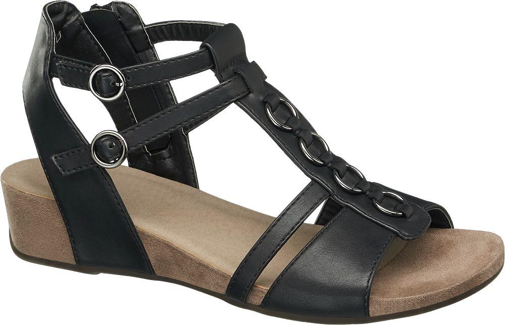 Sandały damskie na koturnie Graceland czarne