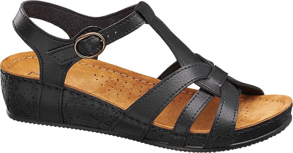 Sandały na koturnie Easy Street czarne