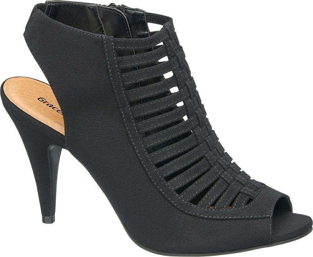 Sandały peep toe Graceland czarne