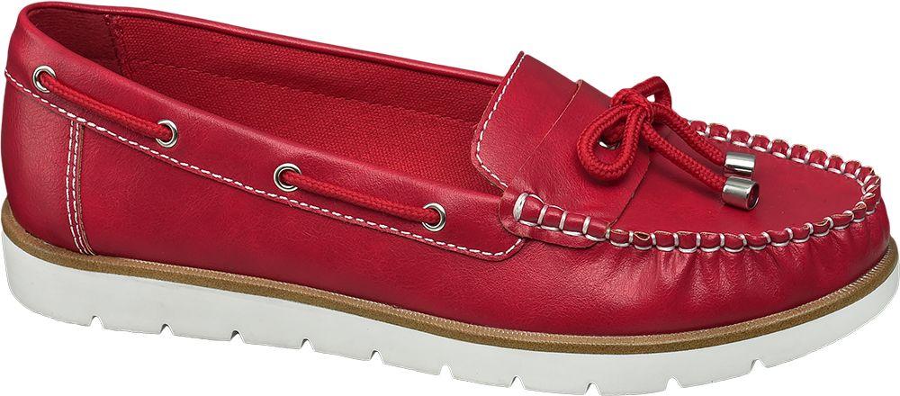 Baleriny - Mokasyny damskie Graceland czerwone