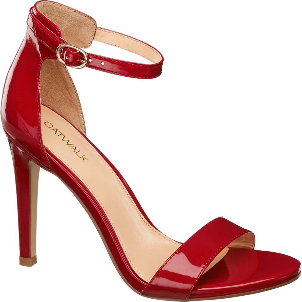 Sandały damskie na obcasie Catwalk czerwone