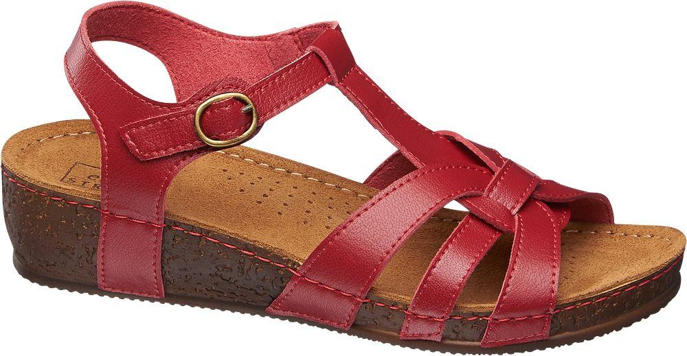 Sandały na koturnie Easy Street czerwone