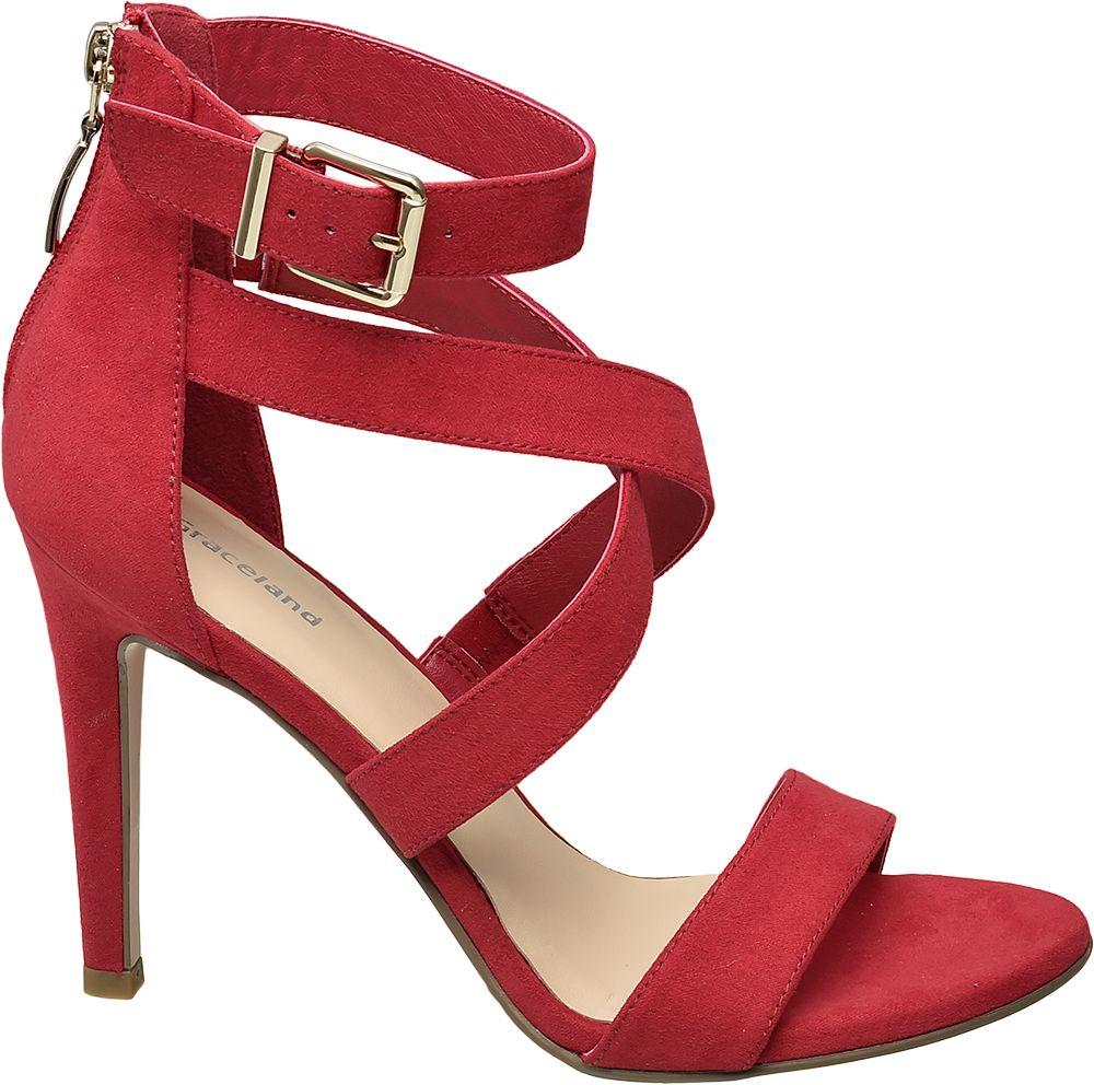 Sandały na obcasie Graceland czerwone