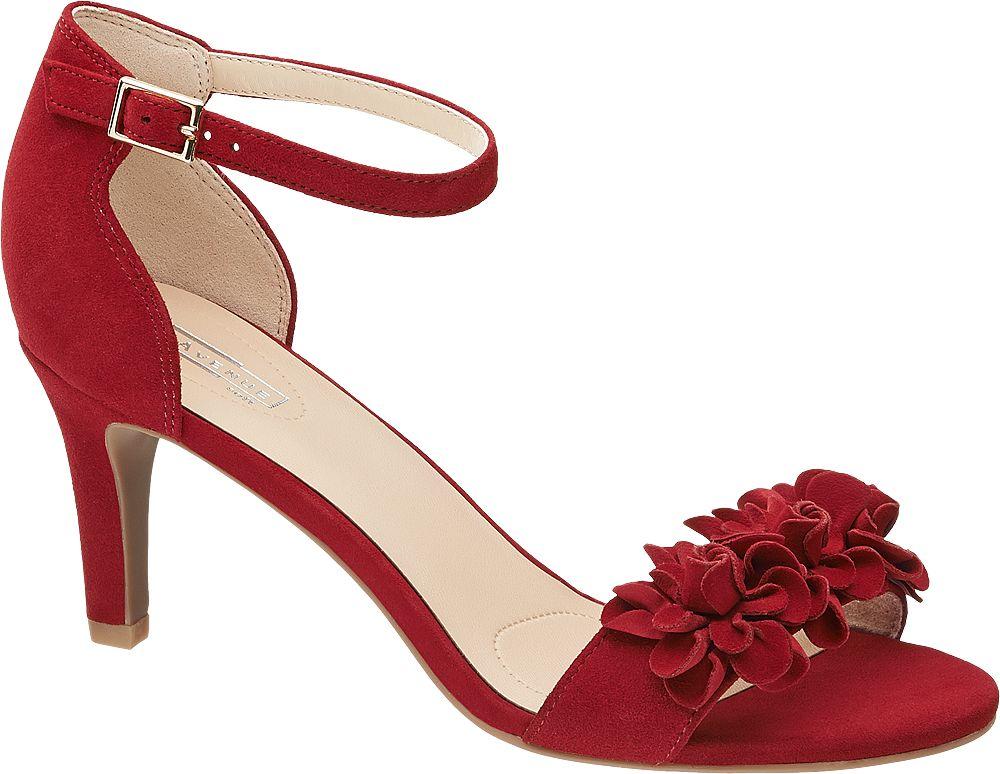 Klapki i sandały - Sandały na obcasie 5th Avenue czerwone