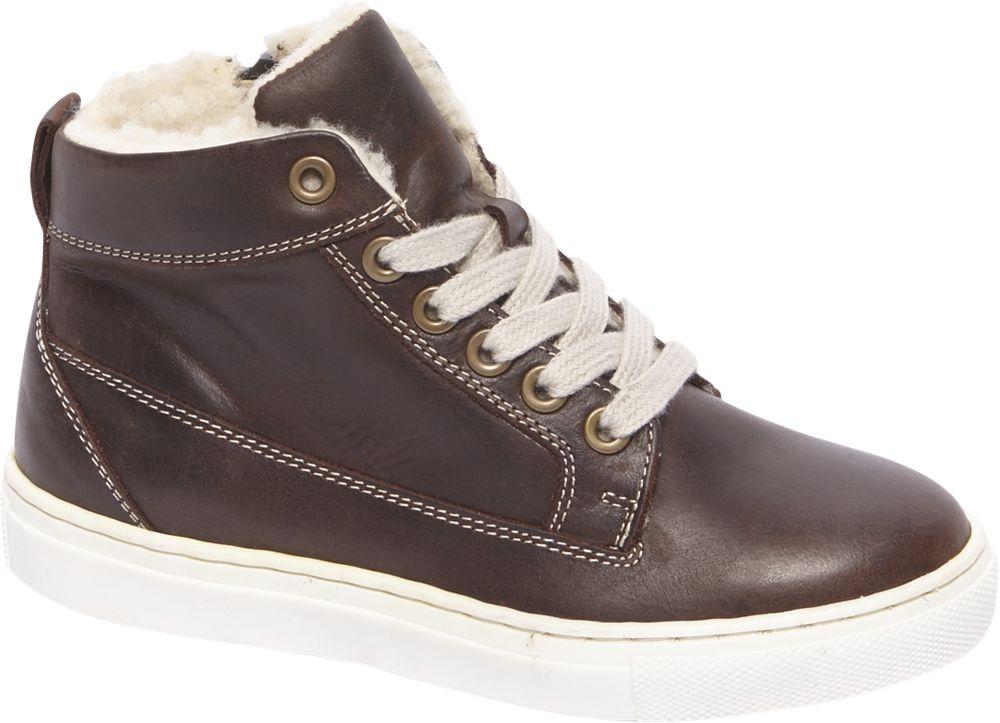 Deichmann - Venice Dětská kožená zimní šněrovací obuv 33 hnědá