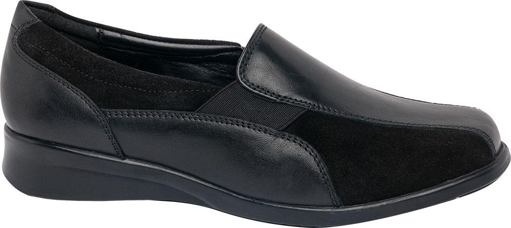 Black Leather Elastic Slip On Shoe