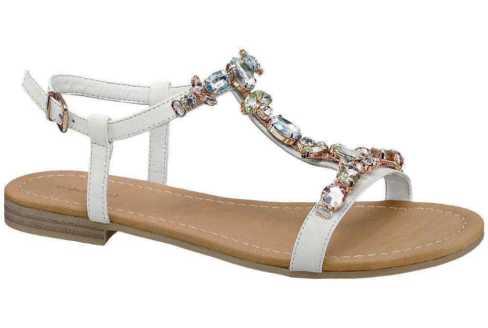 Beyaz Taşlı Sandalet Graceland